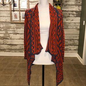 Orange & Grey Aztec Waterfall Cardigan